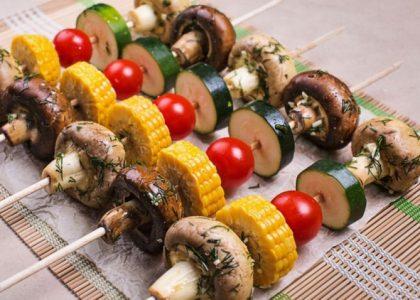 шашлык с овощами, овощной шашлык, овощи на гриле